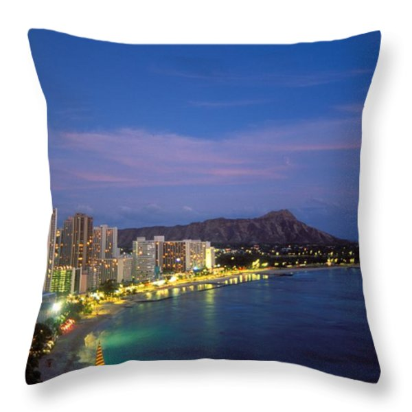 Moon Over Waikiki Throw Pillow by William Waterfall - Printscapes