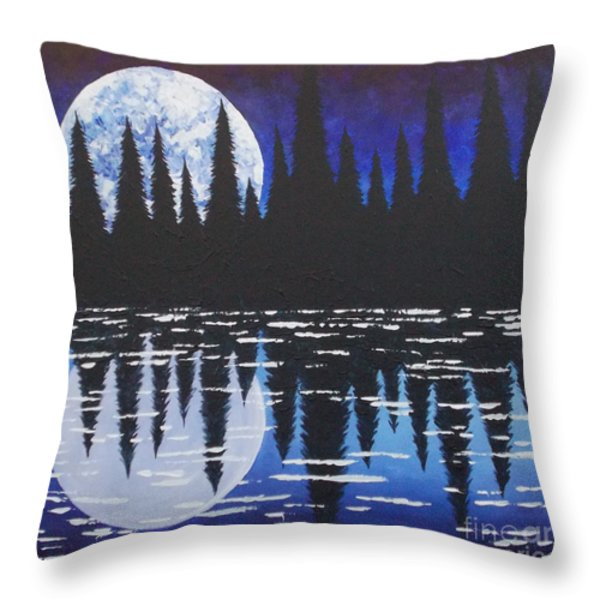 Moon Reflection Over Walden Pond Throw Pillow by Tracy Levesque