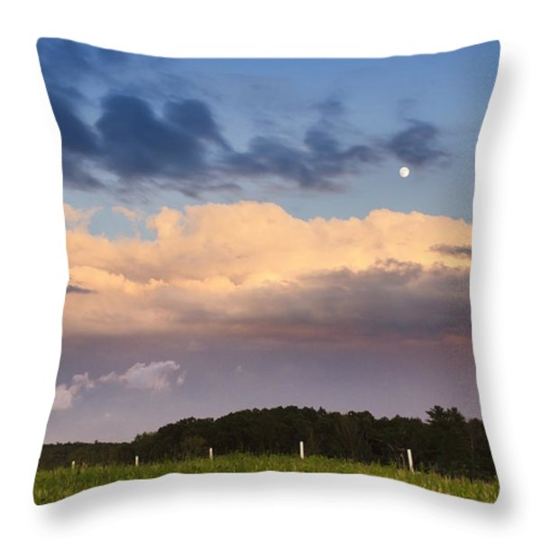 Moon Rise Over Country Fields Sunset Landscape Throw Pillow by Christina Rollo