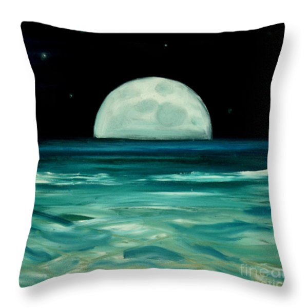Moon Rising Throw Pillow by Caroline Peacock
