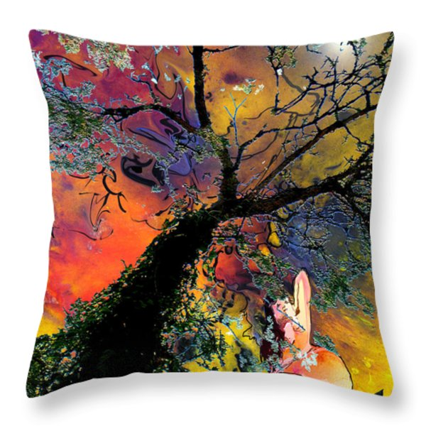 Moonbathing Throw Pillow by Miki De Goodaboom