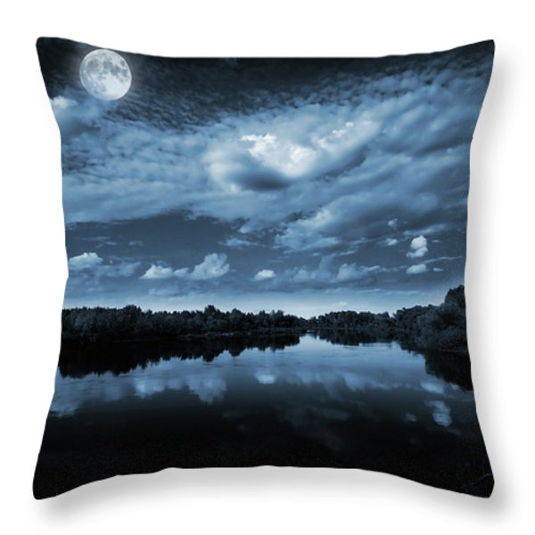 Moonlight over a lake Throw Pillow by Jaroslaw Grudzinski