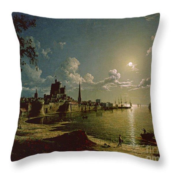 Moonlight Scene Throw Pillow by Sebastian Pether