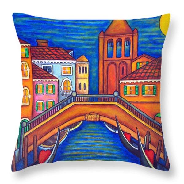 Moonlit San Barnaba Throw Pillow by Lisa  Lorenz