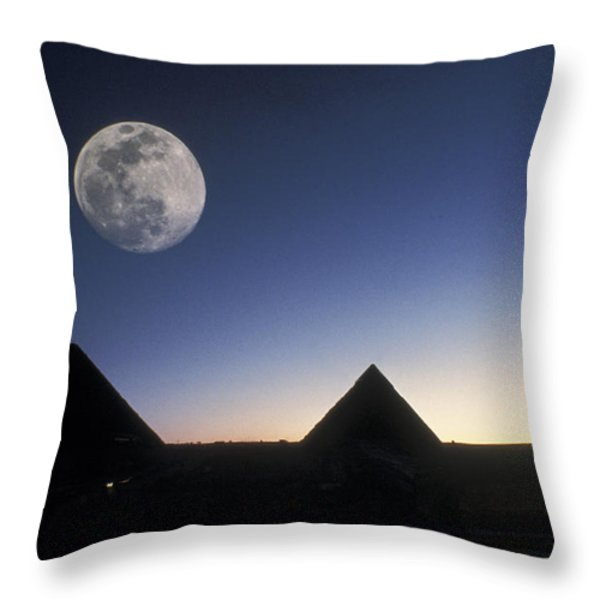 Moonrise Above Giza Pyramids In Egypt Throw Pillow by Richard Nowitz