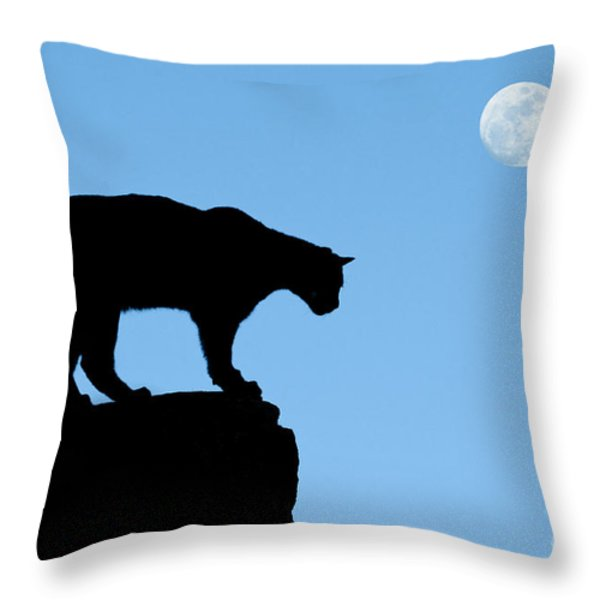 Moonrise and Cougar Throw Pillow by Sandra Bronstein
