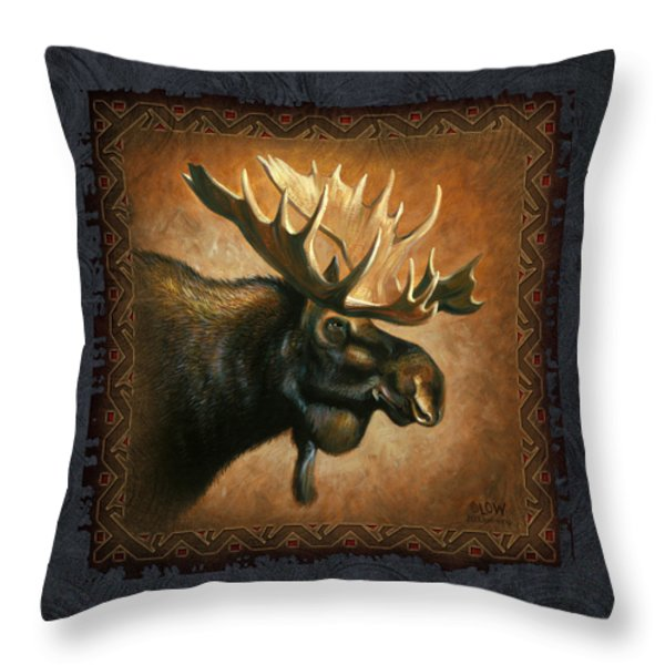 Moose Lodge Throw Pillow by JQ Licensing