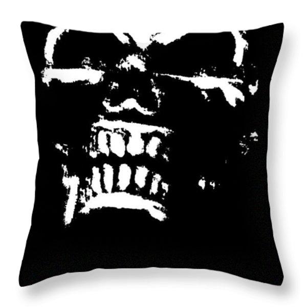 Morbid Skull Throw Pillow by Roseanne Jones