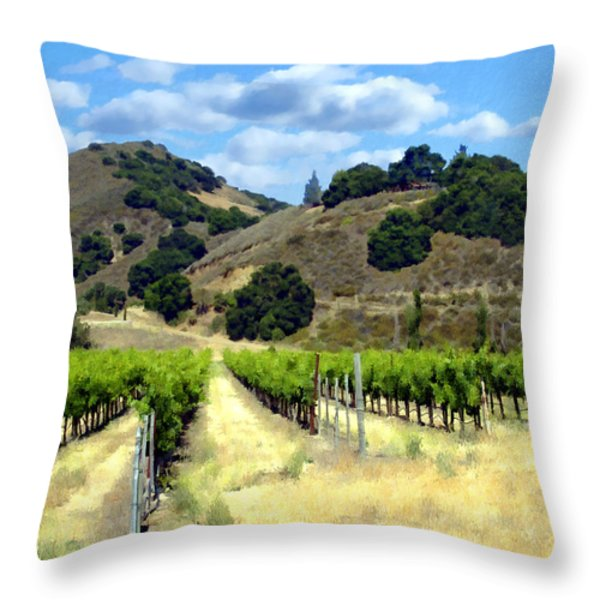 Morning at Mosby Vineyards Throw Pillow by Kurt Van Wagner