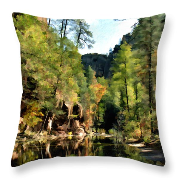 Morning at Oak Creek Arizona Throw Pillow by Kurt Van Wagner