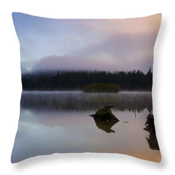 Morning Mist Burning Throw Pillow by Mike  Dawson