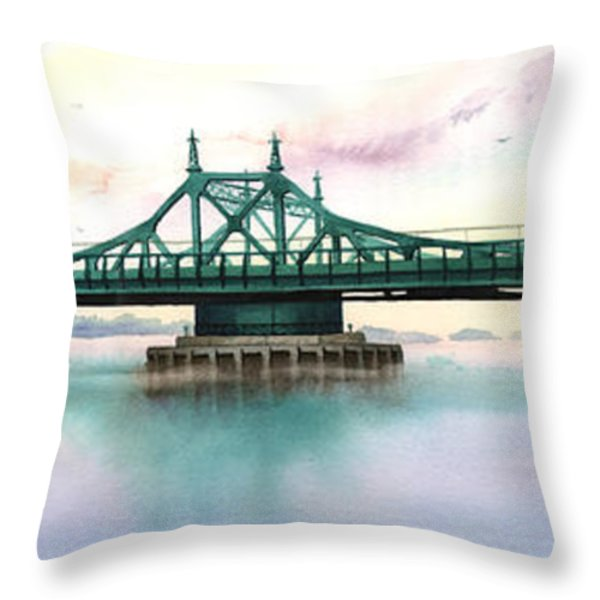 Morning Mist City Island Bridge Throw Pillow by Marguerite Chadwick-Juner