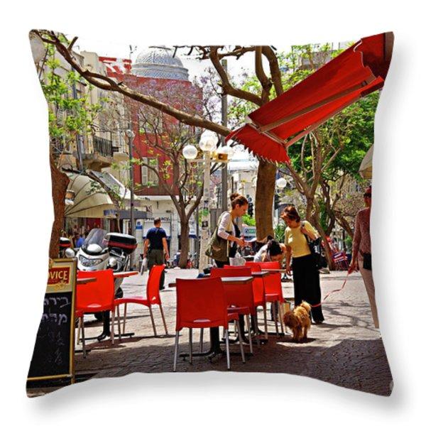 Morning on a street in Tel Aviv Throw Pillow by Zalman Lazkowicz