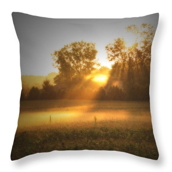 Morning Sunrise On The Cornfield Throw Pillow by Cathy  Beharriell
