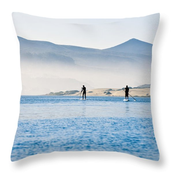 Morro Bay Paddle Boarders Throw Pillow by Bill Brennan - Printscapes