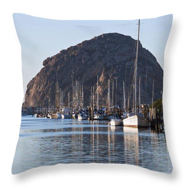 Morro Bay Sailboats Throw Pillow by Bill Brennan - Printscapes
