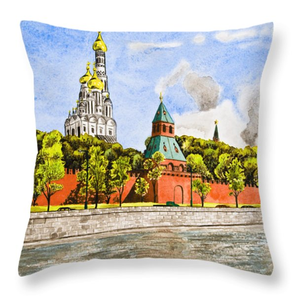 Moscow River Throw Pillow by Svetlana Sewell