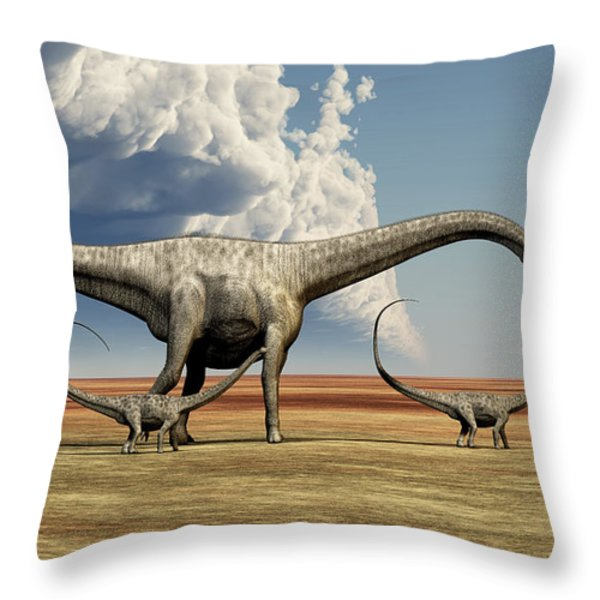 Mother Diplodocus Dinosaur Walks Throw Pillow by Corey Ford