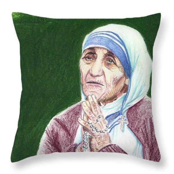 mother teresa Throw Pillow by Yoshiko Mishina
