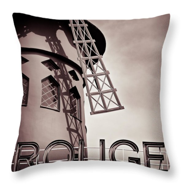 Moulin Rouge Throw Pillow by Dave Bowman