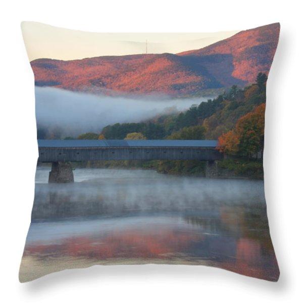 Mount Ascutney and Windsor Cornish Bridge Sunrise Fog Throw Pillow by John Burk