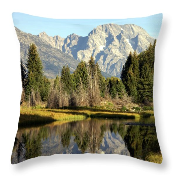 Mount Moran Reflections Throw Pillow by Marty Koch