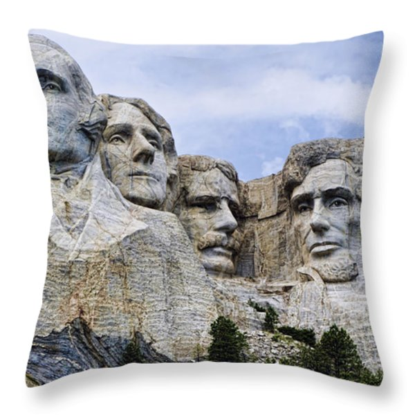Mount Rushmore National Monument Throw Pillow by Jon Berghoff
