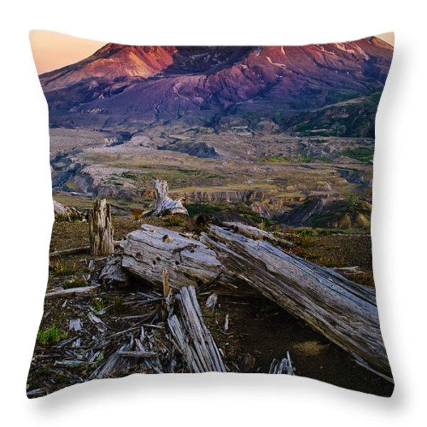 Mount St. Helens Sunset Throw Pillow by Greg Vaughn - Printscapes
