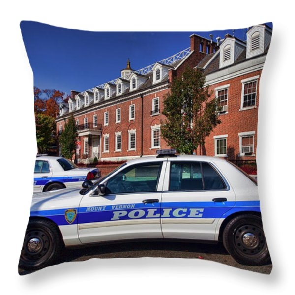 Mount Vernon Police Department Throw Pillow by June Marie Sobrito