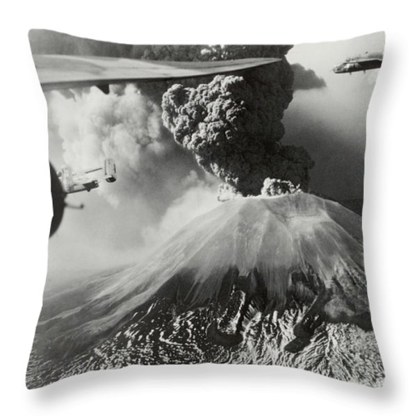 Mount Vesuvius Coughs Up Ash And Smoke Throw Pillow by Us Army Air Forces Official