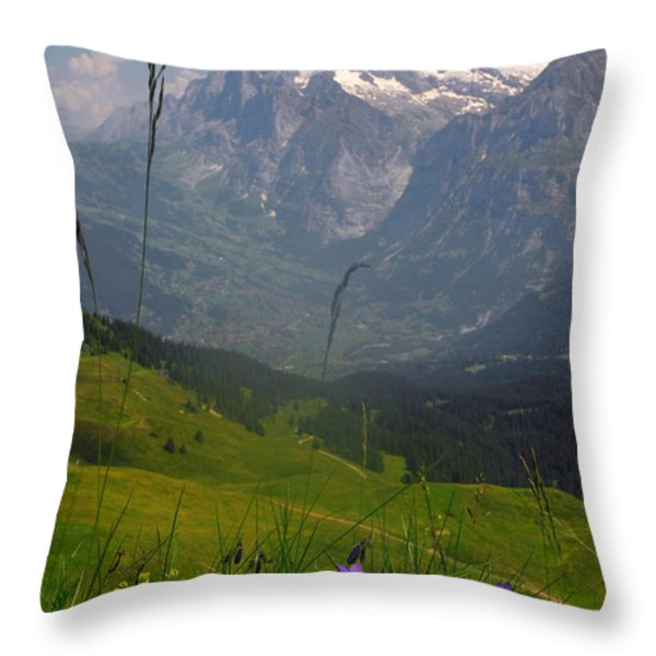 Mount Wetterhorn And The Grindelwald Throw Pillow by Anne Keiser