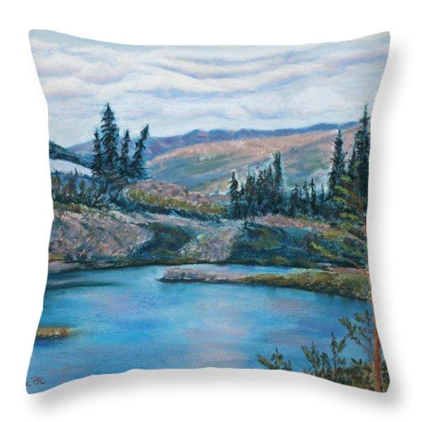 Mountain Lake Throw Pillow by Mary Benke