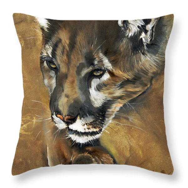 Mountain Lion - Guardian Of The North Throw Pillow by J W Baker