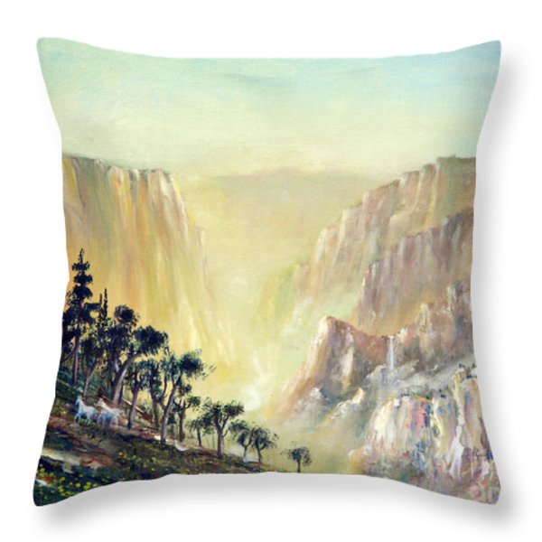 Mountain of The Horses 1989 Throw Pillow by Wingsdomain Art and Photography