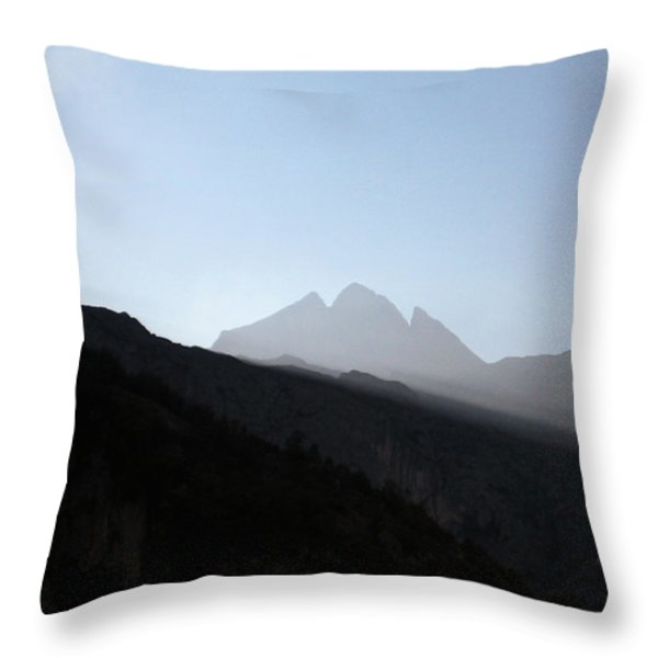 Mountains Throw Pillow by Oliver Johnston