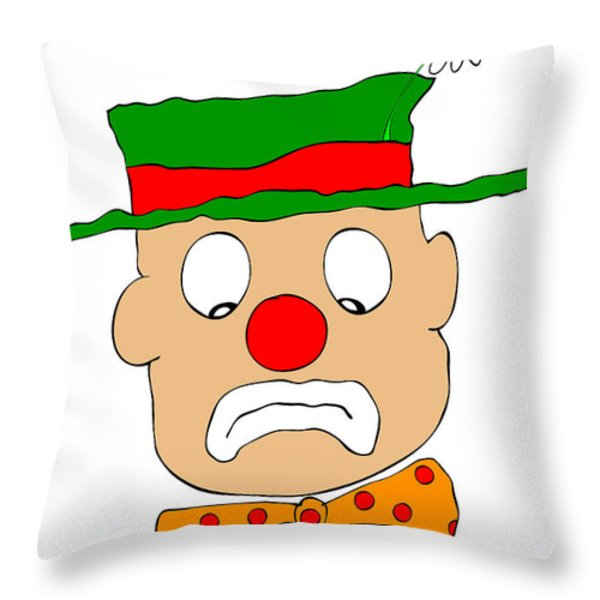 Mournful Clown Throw Pillow by Michal Boubin