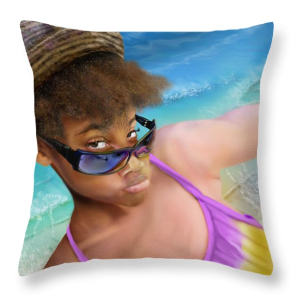 Ms. Sophie D Throw Pillow by Reggie Duffie
