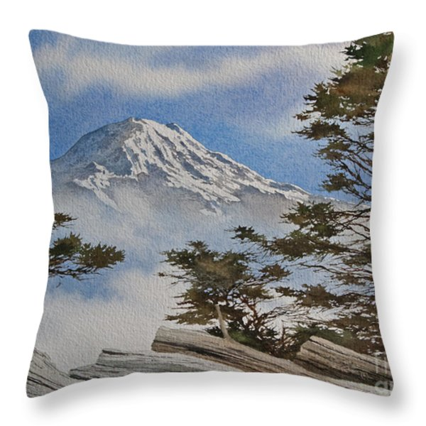 Mt. Rainier Landscape Throw Pillow by James Williamson