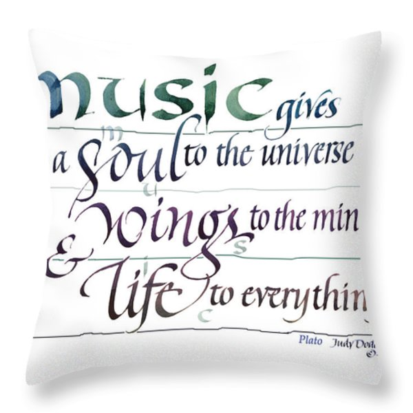 Music Soul Throw Pillow by Judy Dodds