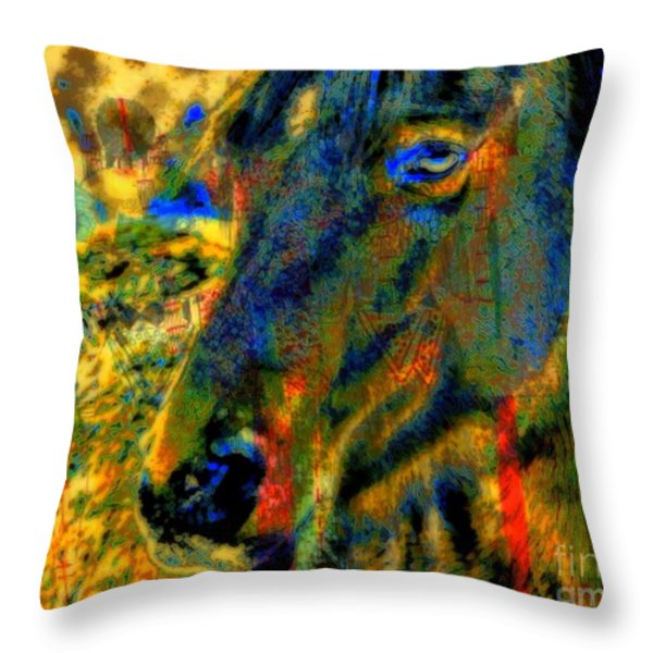 Mustang, A Tribute to Hidalgo Throw Pillow by WBK