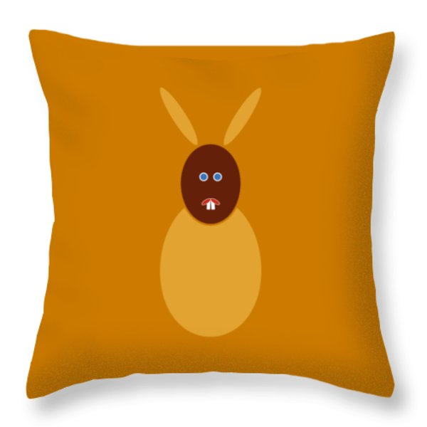 Throw Pillow featuring the painting Mustard Bunny by Frank Tschakert