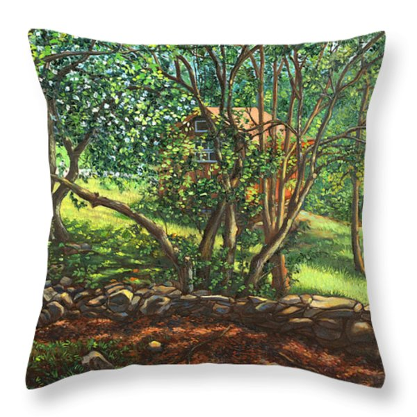 My Cabin In The Woods Throw Pillow by Dominique Amendola
