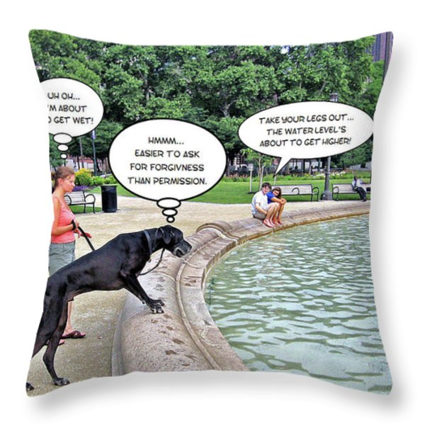 My Dog Tiny Throw Pillow by Brian Wallace