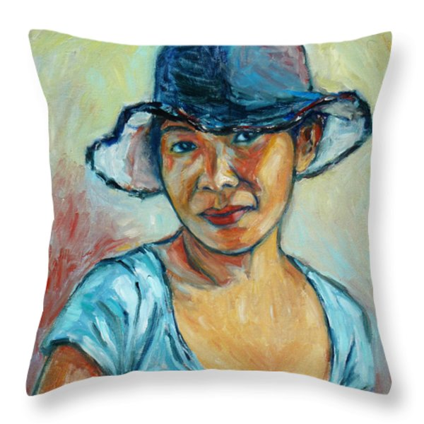 My First Self-portrait Throw Pillow by Xueling Zou