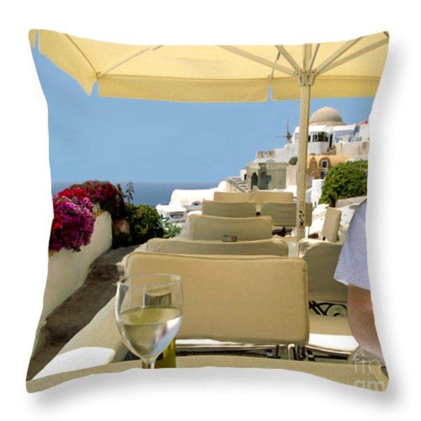 Mykonos Restaurant Throw Pillow by Madeline Ellis