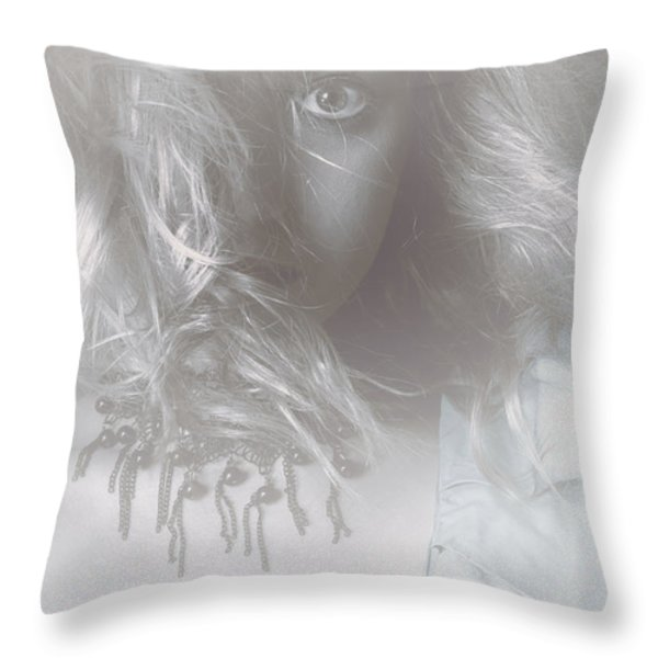Mysterious Fine Art Fantasy Woman In Forest Mist Throw Pillow by Jorgo Photography - Wall Art Gallery