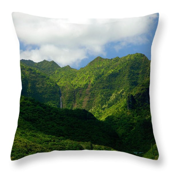 Na Pali Green Throw Pillow by Mike  Dawson