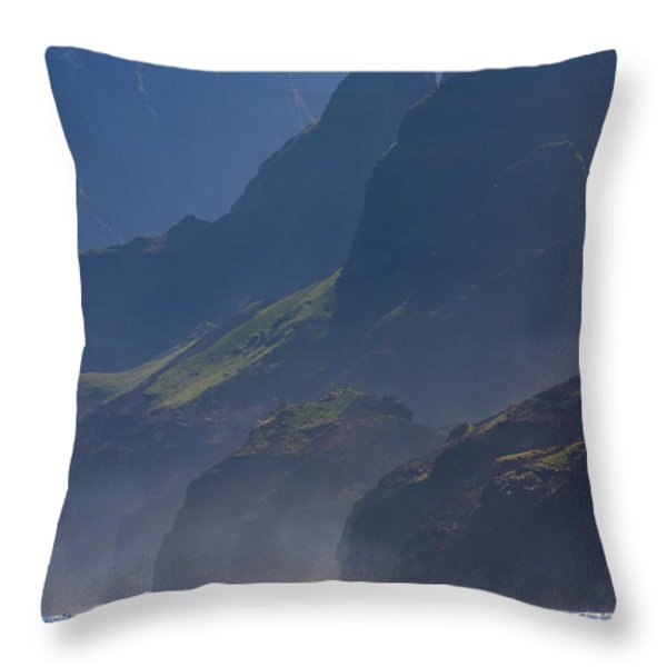 Na Pali Morning Mist Throw Pillow by Mike  Dawson