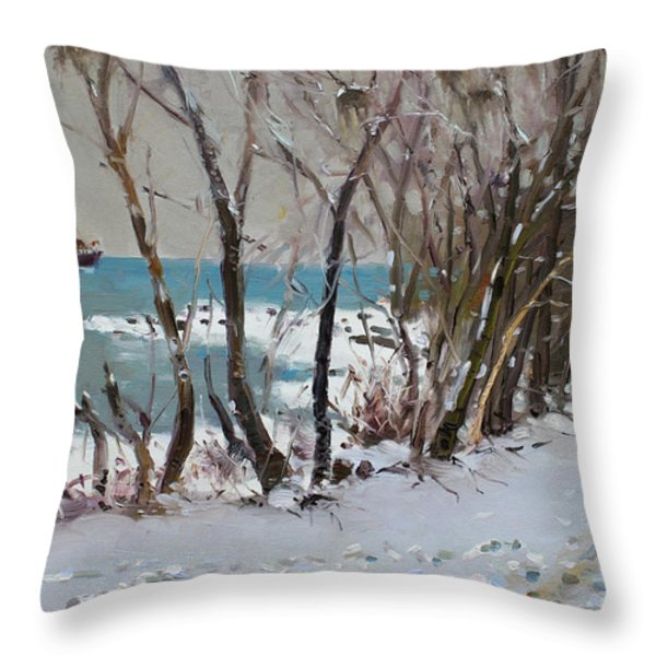 Naked Trees by the Lake Shore Throw Pillow by Ylli Haruni