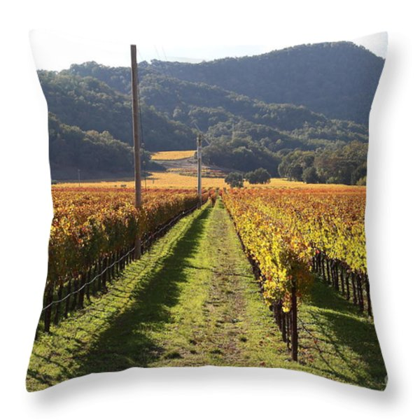Napa Valley Vineyard . 7D9020 Throw Pillow by Wingsdomain Art and Photography